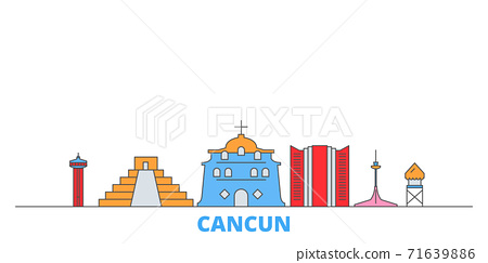 Mexico, Cancun line cityscape, flat vector. Travel city landmark, oultine illustration, line world icons 71639886