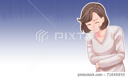 복통의 여성 일러스트 배경있는 블로그 크기 71640850