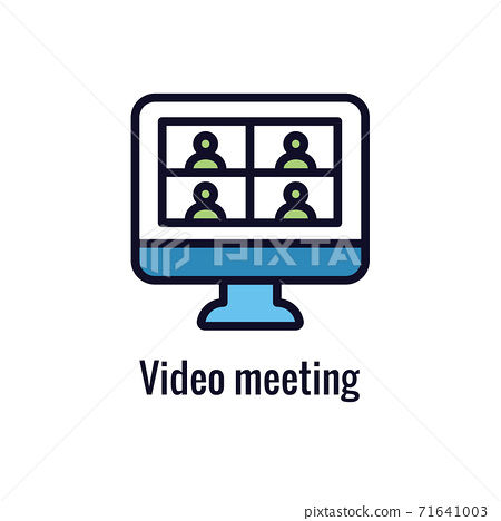 Remote work icon showing work from home concept 71641003