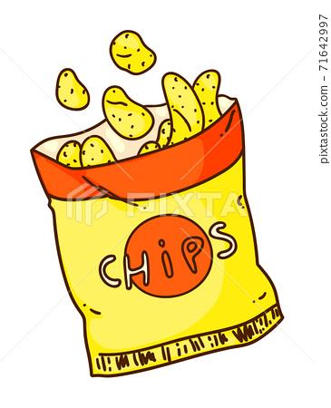 Crunchy potato chips isolated on white background 71642997