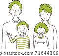 Hand-painted 1color family illustration of 4 people 71644309
