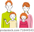 Handwritten line art color illustration, family of four, smiling 71644543