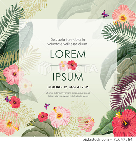 Vector illustration of tropical floral frame in summer for Wedding, anniversary, birthday and party. Design for banner, poster, card, invitation and scrapbook  71647564