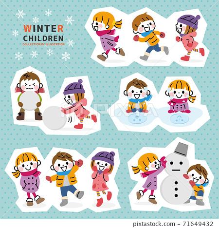 Winter children's set (white border) 71649432
