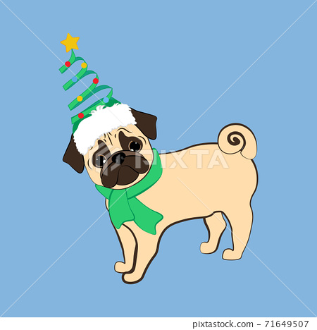 Pug dog in christmas costume vector illustration 71649507