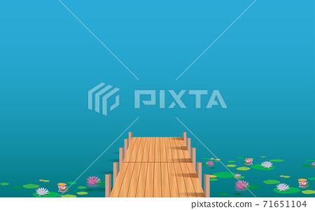 landscape of wooden bridge on the lotus swamp in daytime 71651104