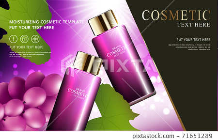 Grape seed skin care cosmetic product poster, bottle package design with moisturizer cream or liquid, sparkling background with glitter polka, vector design EPS10. 71651289