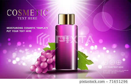 Grape seed skin care cosmetic product poster, bottle package design with moisturizer cream or liquid, sparkling background with glitter polka, vector design EPS10. 71651296