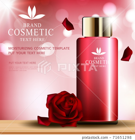 Rose skin care cosmetic product poster, bottle package design with moisturizer cream or liquid, sparkling background with glitter polka, vector design. 71651298