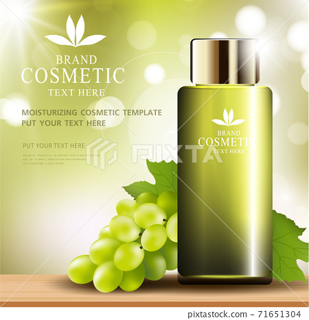 Grape seed skin care cosmetic product poster, bottle package design with moisturizer cream or liquid, sparkling background with glitter polka, vector design EPS10. 71651304