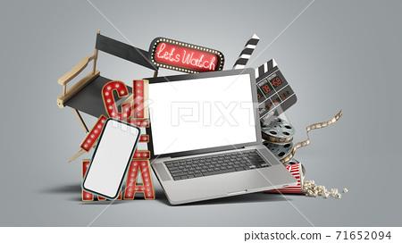 Online theatre cinema had light concept nave lets watch cinema 3d render on grey gradient 71652094