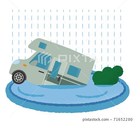 Vector illustration of a camper van suffering from heavy rain 71652280