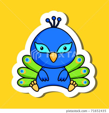 Cute cartoon sticker little peacock logo template. Mascot animal character design of album, scrapbook, greeting card, invitation, flyer, sticker, card. Vector stock illustration. 71652435