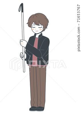 舉起白色拐杖並顯示SOS的哥哥的插圖矢量 71653767
