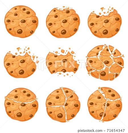 Broken oatmeal cookies. Cartoon bitten choco chip cookie with crumbs. Homemade chocolate round shaped crunch cookies. Sweet snack vector set 71654347