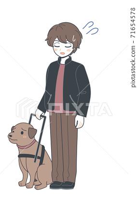 弟弟和一條盲犬,陷入困境的臉矢量 71654578