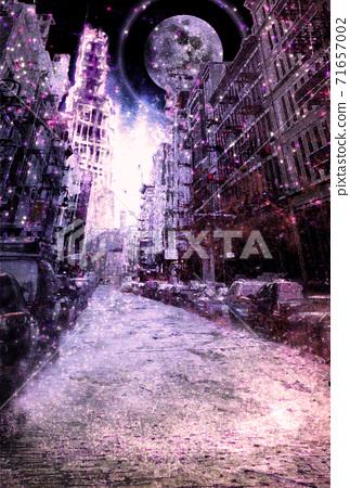 먼지가 쌓이고 보라색으로 빛나는 대기 오염 된 폐허의 도시 71657002