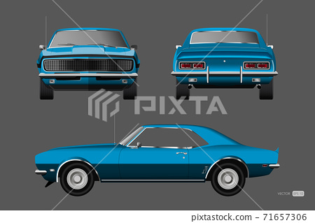 Retro car of 1960s. Blue american vintage automobile in realistic style. Front, side and back view. 3d classic auto 71657306