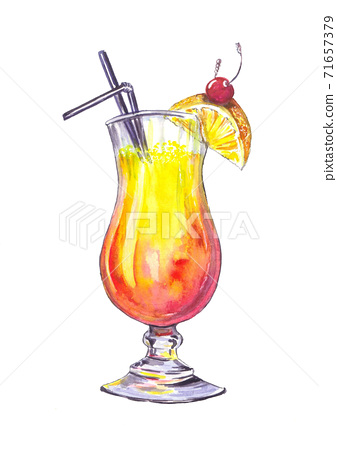 Cocktail sunrise with fruits, watercolor illustration handdrawn. 71657379