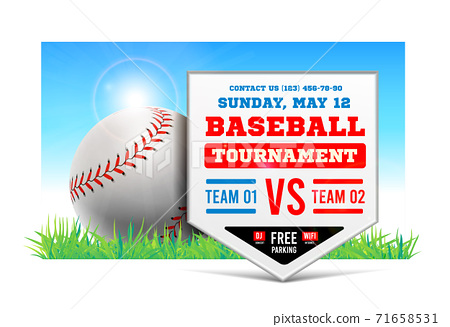 Baseball plate on the background of the grass field. Vector. Baseball game announcement. 71658531