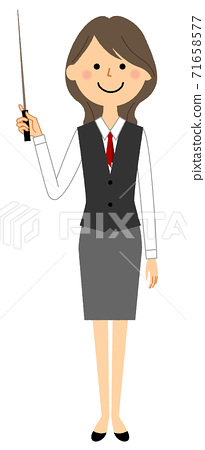 A woman in uniform with a pointer 71658577