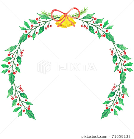 Christmas wreath with holly berries and Christmas bell 71659132