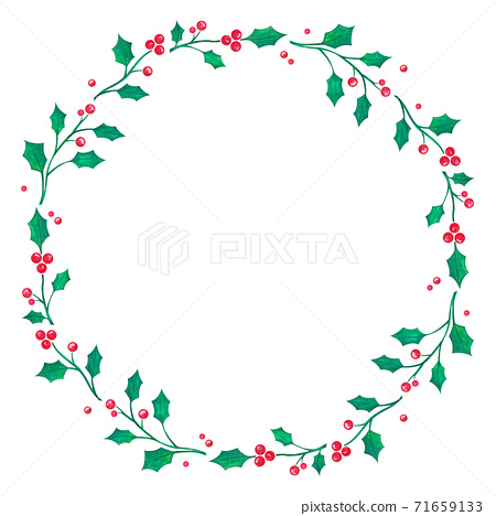 Christmas wreath drawing on white paper background, Christmas greeting card background 71659133