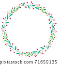 Christmas wreath with berries hand drawing 71659135