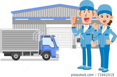 做膽量的男人和女人的整個身體擺在倉庫和卡車前面 71662819