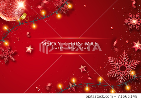 Christmas background with shining stars, confetti, garland and colorful balls. New year and Christmas card illustration on red background 71665148