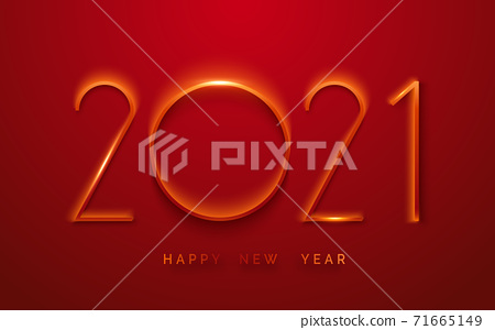Happy New Year 2021 minimalist greeting card. Background with shining numerals. New year and Christmas card illustration on red background. Holiday illustration of red numbers 2021 71665149