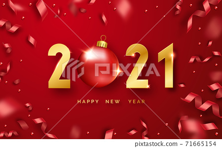 Happy New Year 2021. Background with shining numerals, ball and ribbons. New year and Christmas card illustration on red background. Holiday illustration of golden numbers 2021 71665154