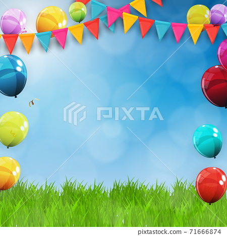 Green Grass Field and Blue Sky Background with Holiday Flags, balloons. Vector Illustratio 71666874