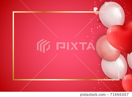 Love Valentines Day Background with Hearts. Vector Illustration 71666887