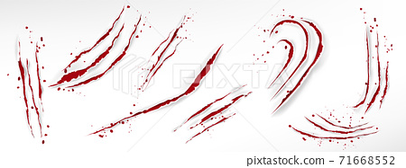 Cat claw scratches with blood drops 71668552