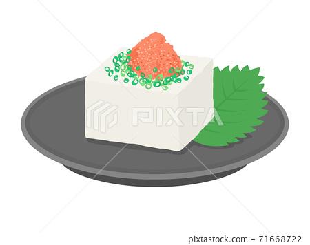Illustration of tofu with mentaiko 71668722