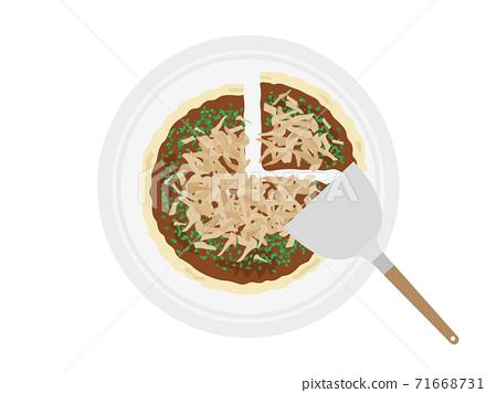 Illustration of okonomiyaki on a plate 71668731