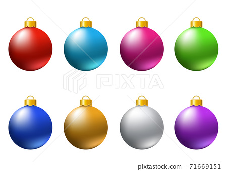 Set of  realistic  colorful   Christmas  balls  isolated on white background. 71669151
