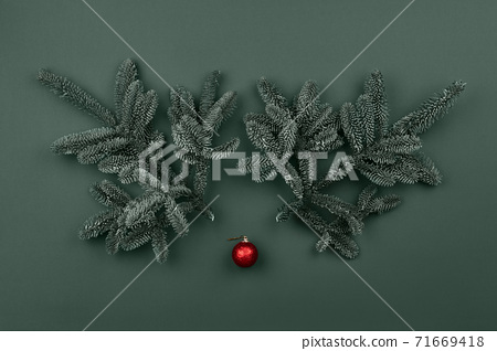 Christmas deer face made from fir tree branches 71669418