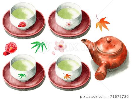 模擬水彩四個季節圖案熱水碗茶碗綠茶九州 71672786