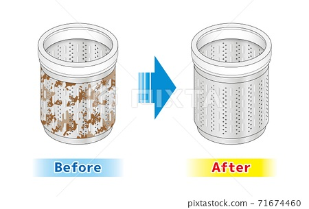 Washing machine Washing tub Back side illustration Cleaning Clean Dirt Mold sterilization Cleaning Cleaning 71674460