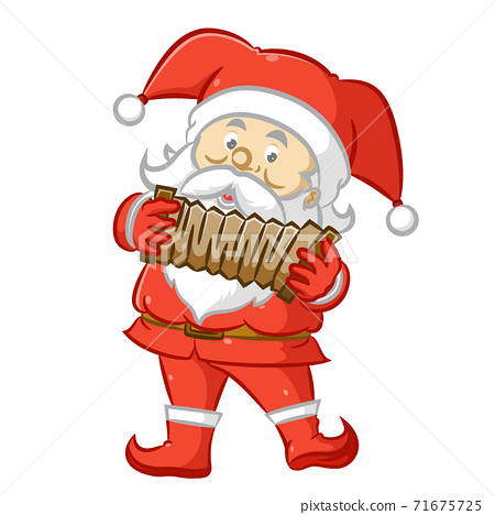 The Santa Claus using the red costume and holding the brown accordion 71675725