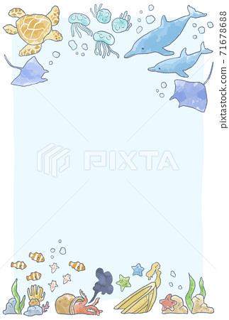 溫柔的觸摸海洋生物插圖框架 71678688