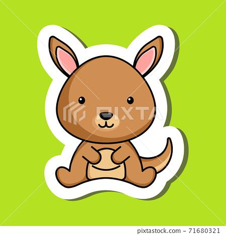 Cute cartoon sticker little kangaroo logo template. Mascot animal character design of album, scrapbook, greeting card, invitation, flyer, sticker, card. Vector stock illustration. 71680321