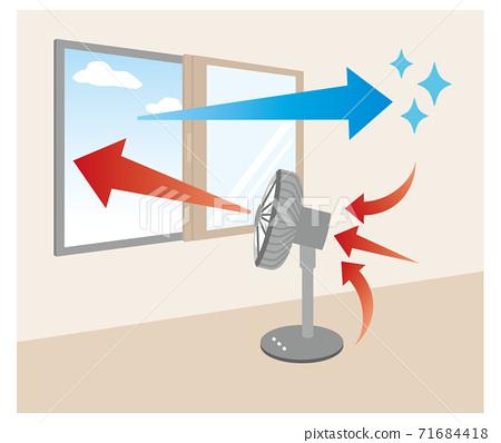 引導風扇的風向窗戶通風的插圖 71684418