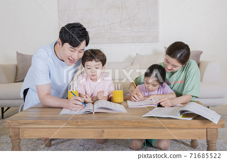 Concept of friendly family, happy family enjoying summer vacation at home 258 71685522