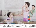 Concept of friendly family, happy family enjoying summer vacation at home 309 71685600