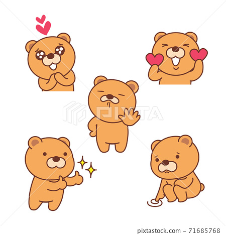 Set with funny bear icon, cartoon style illustration 001 71685768