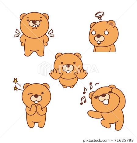Set with funny bear icon, cartoon style illustration 007 71685798