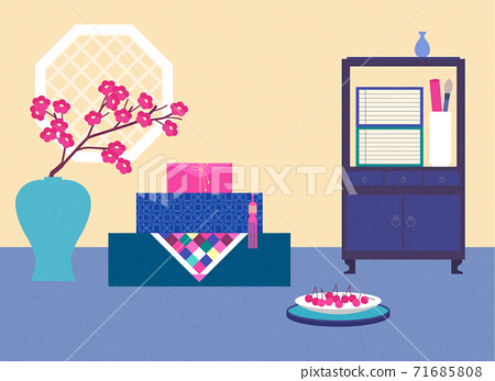 Korean Mid-autumn festival in flat design style illustration 003 71685808